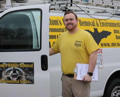 Pictured Here is Mike Cottom Jr. Who Is A Professional Wildlife Exterminator And Wildlife Exclusion Expert That Works All Over The State Of Ohio On Behalf Of Homeowners And Business Owners.