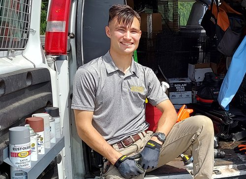 PICTURED HERE IS CRW WILDLIFE CONTROL PROFESSIONAL, ALEX SVENSEN ON JUNE 4, 2021 - He is a humane wildlife removal professional working on-site at a raccoon exclusion and damage prevention project in the city of Hamilton, Ohio. Alex is an expert at using a full range of safe, ethical, effective and humane exclusion techniques to evict raccoons, birds, squirrels, mice, bats and rats from attics in Ohio homes.