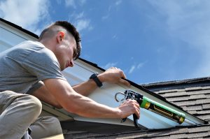 Caulking A Roof To Keep Bats Out - Pictured here is Alex who is a bat removal and bat exclusion expert at the Cottom's Wildlife Removal company in Ohio.