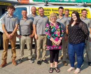 JULY 26, 2021 - Pictured here are 9 groundhog trapping and removal experts at the Cottom's Wildlife Removal company of Ohio. They enjoy working with customers throughout Northern Ohio to solve groundhog problems.